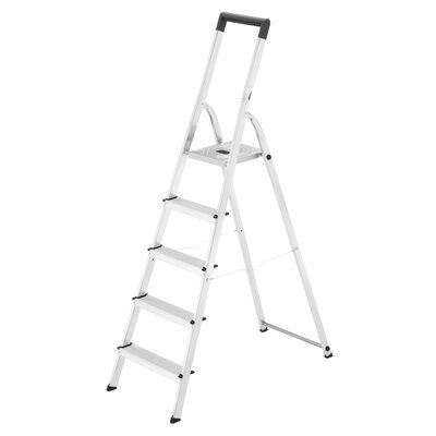 1.84 m Trittleiter L40 aus Aluminium - mit Sicherheitsbügel | Baumarkt > Leitern und Treppen > Trittleiter | Silver | Kunststoff - Aluminium | Hailo