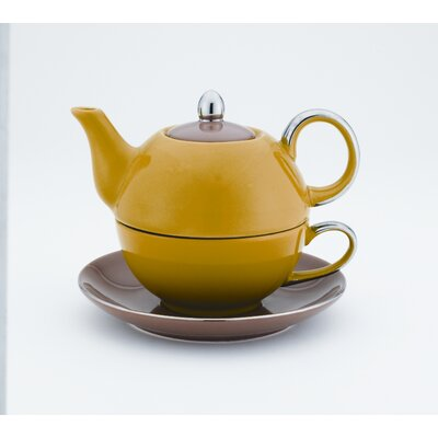 Siena 14 oz. Tea for One with Saucer Color: Beige / Purple