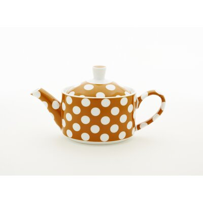White Polka Dots Small Teapot Color: Pumpkin Orange