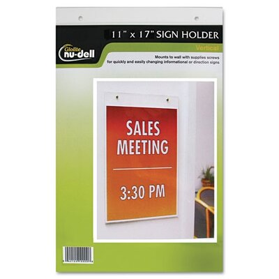 Clear Plastic Sign Holder, Wall Mount, 11 Wide