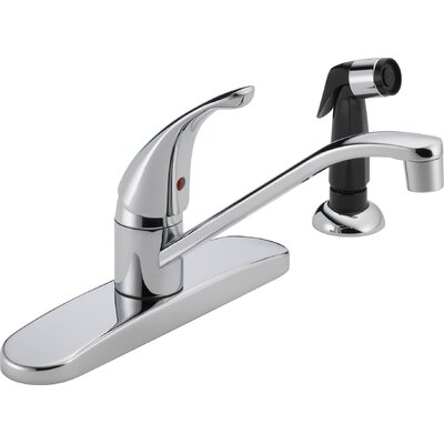 Single Handle Centerset Kitchen Faucet with Side Spray Finish: Chrome