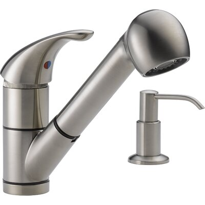 12 Single Handle Widespread Kitchen Faucet with Soap Dispenser Finish: Stainless Steel