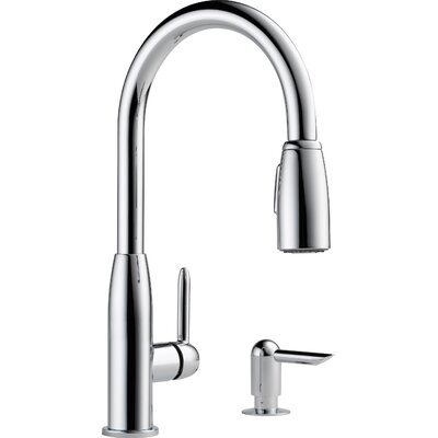 Single Handle Widespread Kitchen Faucet with Soap Dispenser Finish: Chrome
