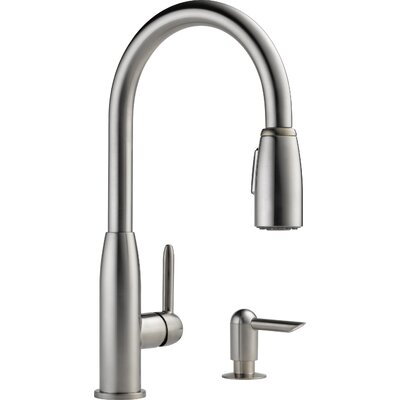 Single Handle Widespread Kitchen Faucet with Soap Dispenser Finish: Stainless Steel