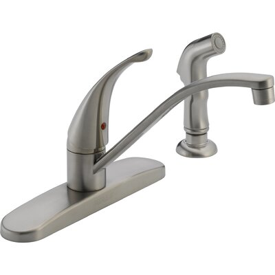 Single Handle Centerset Kitchen Faucet with Side Spray Finish: Stainless Steel