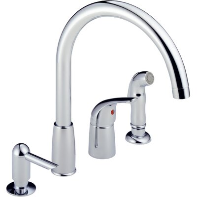 Single Handle Deck Mounted Kitchen Faucet with Soap Dispenser Finish: Chrome