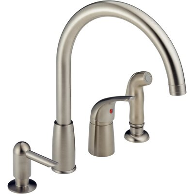 Single Handle Deck Mounted Kitchen Faucet with Soap Dispenser Finish: Stainless