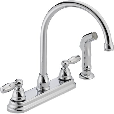 Two Handle Centerset Kitchen Faucet with Side Spray Finish: Chrome