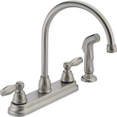 Double Handle Kitchen Faucet with Side Spray Finish: Stainless Steel