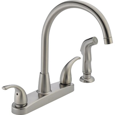 Two Handle Centerset Kitchen Faucet with Side Spray Finish: Stainless Steel