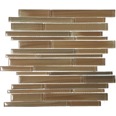 Contempo Jasper Strips Random Sized Glass Mosaic Tile in Brown