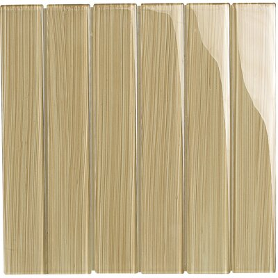 Brushstrokes 2 x 12 Glass Mosaic Tile in Tan