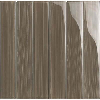 Brushstrokes 2 x 12 Glass Mosaic Tile in Brown