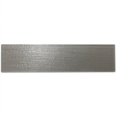 Grain Textured 3 x 12 Glass Subway Tile in Gray