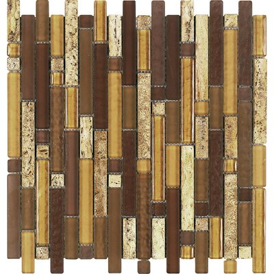 Varietals Random Sized Stone Composite and Glasss Mosaic Tile in Brown