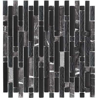 Varietals Random Sized Stone Composite and Glass Mosaic Tile in Dark Gray