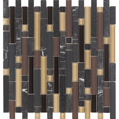 Varietals Random Sized Stone Composite and Glass Mosaic Tile in Gray