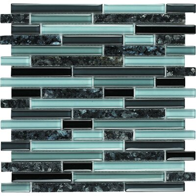 Spectrum Random Sized Stone Composite and Glass Mosaic Tile in Black and Blue