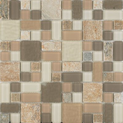 No Ka Oi Lahaina Random Sized Stone Composite and Glass Mosaic Tile in Gray and Beige