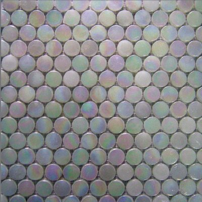Alpinez Aspen 3/4 Penny Round Milk Glass Mosaic in White Iridescent