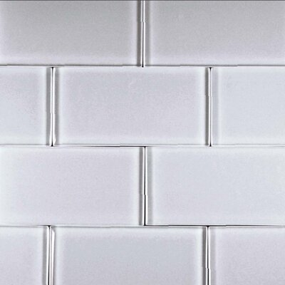 Alpinez Telluride 3 x 6 Glass Subway Tile in White