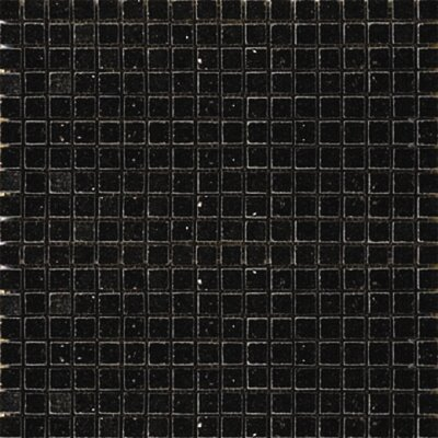0.625 x 0.625 Granite Mosaic Tile in Black Galaxy