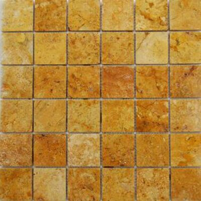 2 x 2 Travertine Mosaic Tile in Gold