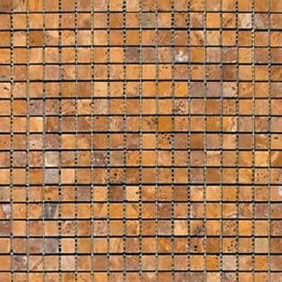 0.625 x 0.625 Travertine Mosaic Tile in Gold