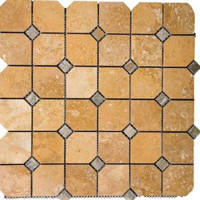 1 x 1 Travertine Mosaic Tile in Gold