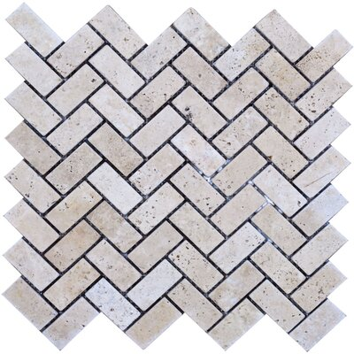 Herringbone Travertine Mosaic Tile in Beige