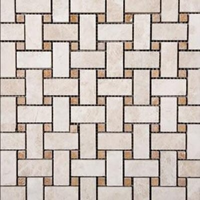 Basketweave Random Sized Travertine Mosaic Tile in Beige