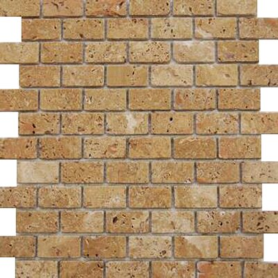 1 x 2 Travertine Mosaic Tile in Brown