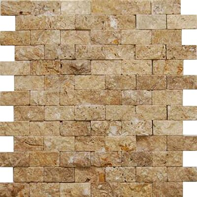 1 x 2 Travertine Splitface Tile in Brown