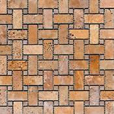 Noce Basketweave Random Sized Travertine Mosaic Tile in Brown
