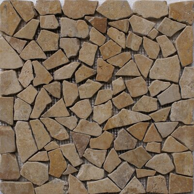 Noce Pebbles Random Sized Travertine Mosaic Tile in Brown