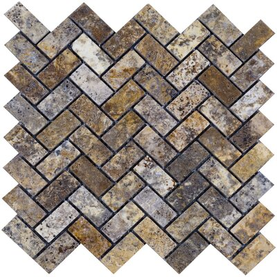 Scabos Herringbone Travertine Mosaic Tile in Multi