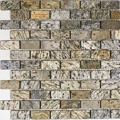 1 x 2 Slate Mosaic Tile in Gold Green