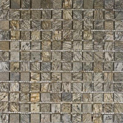 1 x 1 Slate Mosaic Tile in Gold Green