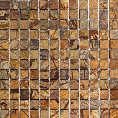 1 x 1 Marble Mosaic Tile in Rain Forest Brown