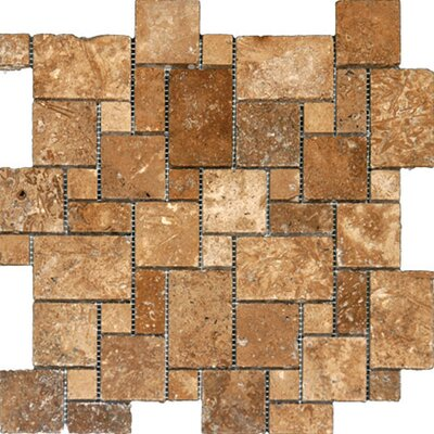 Random Sized Travertine Mosaic Tile in Unpolished Golden Sienna