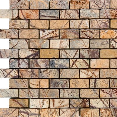 1 x 2 Marble Mosaic Tile in Rain Forest Brown