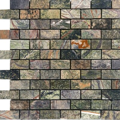 1 x 2 Marble Mosaic Tile in Rain Forest Green