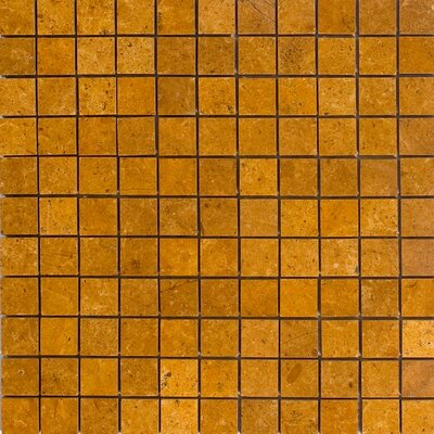 1 x 1 Marble Mosaic Tile in Inca Gold