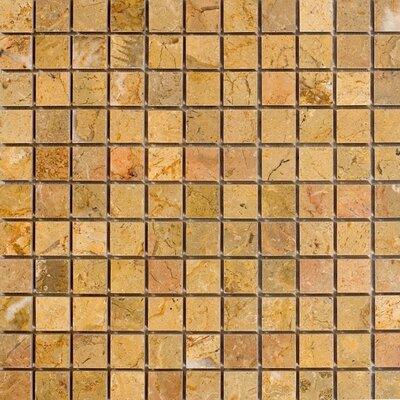 1 x 1 Marble Mosaic Tile in Sahara Gold