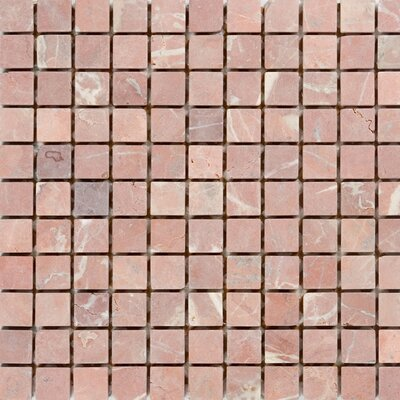 1 x 1 Marble Mosaic Tile in Polished Red