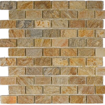 """1"""" X 2"""" Slate Mosaic Tile In Sunny Ray"""