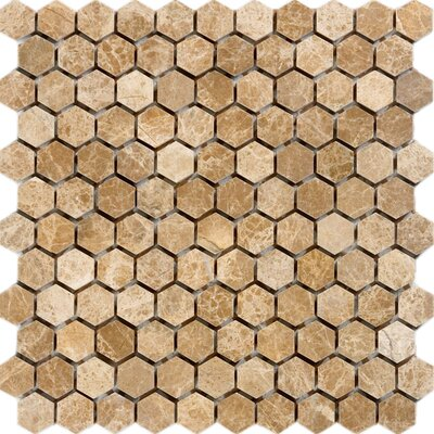 Hexagon Marble Mosaic Tile in Emperador Light