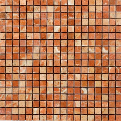 0.63 x 0.63 Marble Mosaic Tile in Polished Red