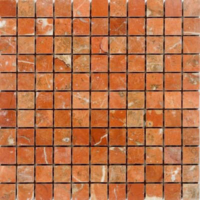 1 x 1 Marble Mosaic Tile in Polished Orange