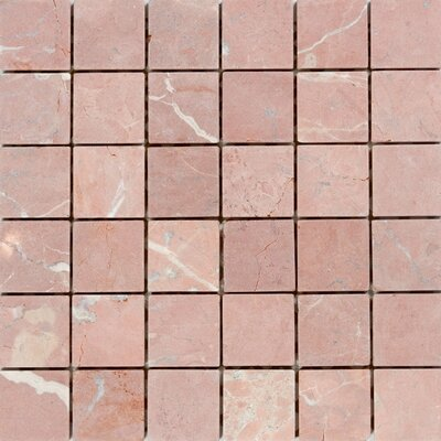 2 x 2 Marble Mosaic Tile in Honed Red